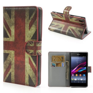 Sony Xperia Z1 Leder Case mit Retro UK Flagge und Standfunktion
