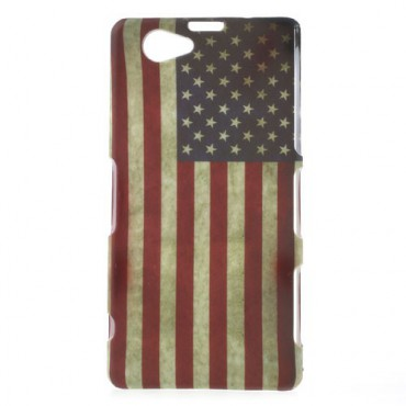 Sony Xperia Z1 Compact Hart Plastik Case mit USA Nationalflagge retro-style
