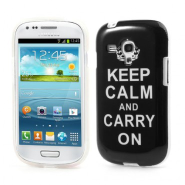 "Samsung Galaxy S3 Mini Glänzendes Plastik Case ""Keep calm and carry on"""