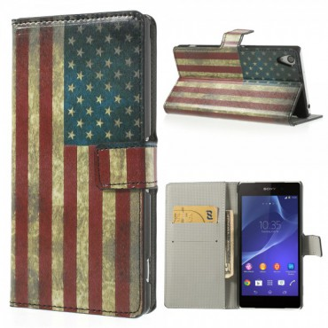 Sony Xperia Z2 Leder Case USA Nationalflagge retro-style