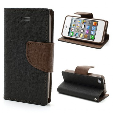 iPhone 4/4S Modisches Leder Case - braun/schwarz