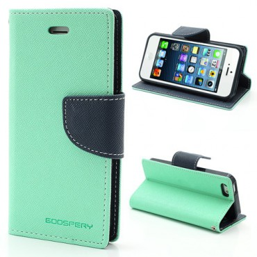 iPhone SE/5S/5 Mercury Leder Case mit Standfunktion - dunkelblau/cyan