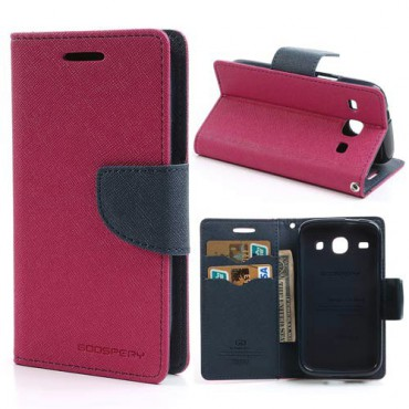 Samsung Galaxy Core Modisches Leder Case - dunkelblau/rosa