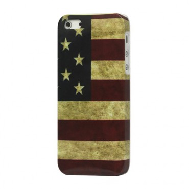 iPhone SE/5S/5 Hart Plastik Case mit USA Flagge retro-style
