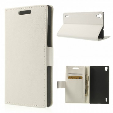 Huawei Ascend P7 Leder Case mit Litchimuster und Standfunktion - weiss