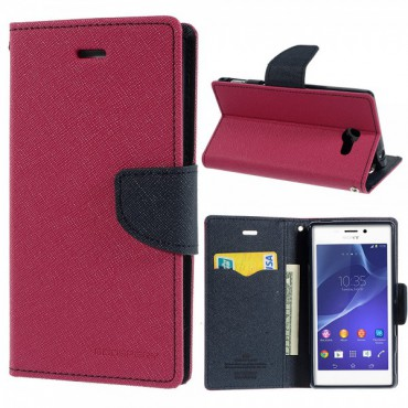 Sony Xperia M2/M2 Dual Modisches Leder Case mit Standfunktion - dunkelblau/rosa