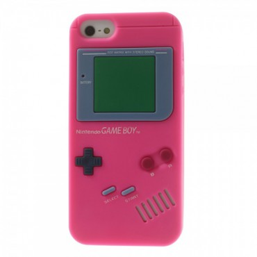 iPhone SE/5S/5 Silikon Case im Nintendo GameBoy Look - rosa