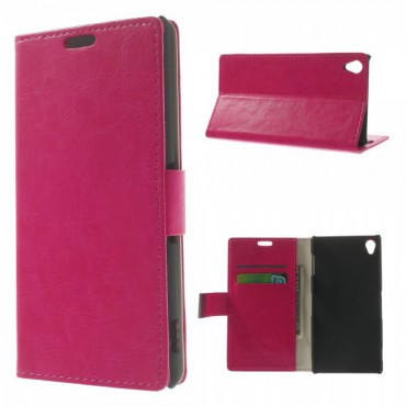 Sony Xperia Z3 Crazy Horse Leder Case mit Standfunktion - rosa