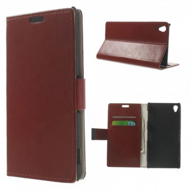 Sony Xperia Z3 Crazy Horse Leder Case mit Standfunktion - braun
