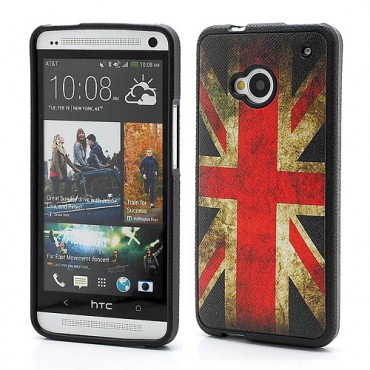 HTC One Elastisches Plastik Case mit Union Jack Flagge retro-style