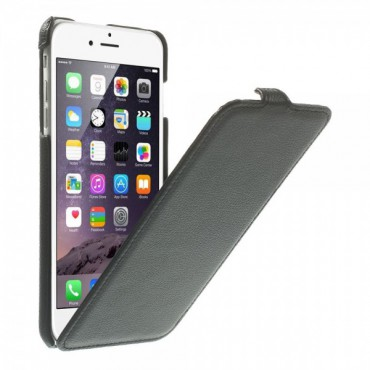 iPhone 6 Plus/6S Plus Leder Case vertikal mit Litchimuster - schwarz