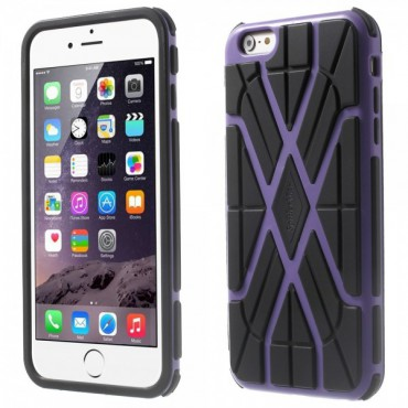 iPhone 6 Plus/6S Plus Rutschfestes Plastik Case mit Spinnennetzmuster - purpur