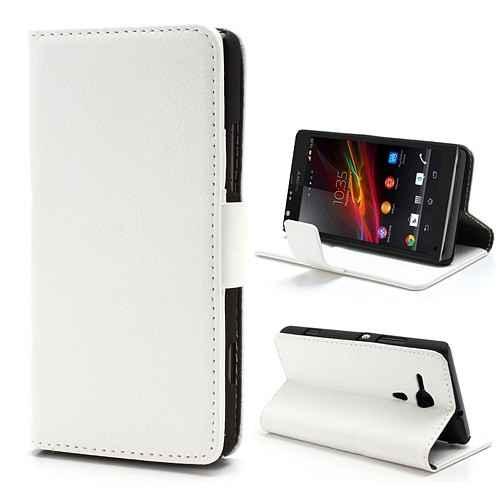 Sony Xperia SP Leder Case mit Standfunktion und Litchimuster - weiss