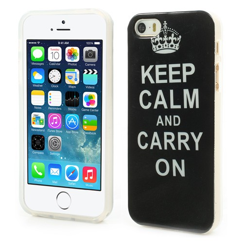 "iPhone SE/5S/5 Elastisches Plastik Case ""Keep Calm and Carry on"" - schwarz"