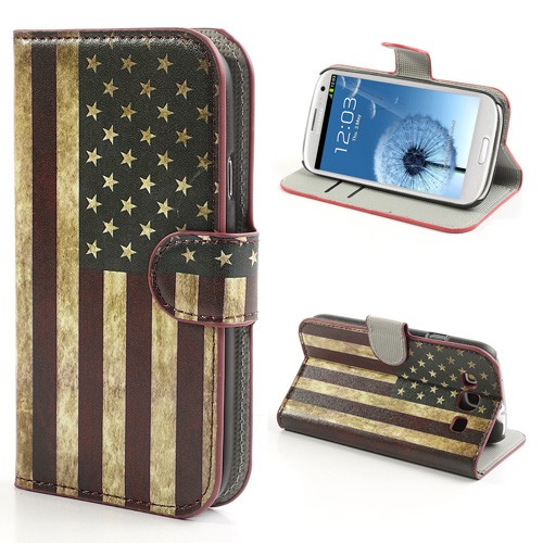 Samsung Galaxy S3 Leder Case mit USA Nationalflagge retro-style