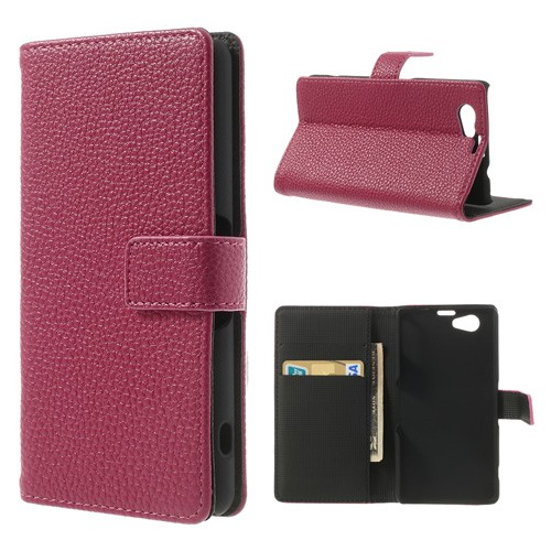 Sony Xperia Z1 Compact Leder Case mit Litchimuster und Standfunktion - rosa