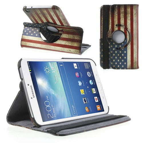 Samsung Galaxy Tab 3 8.0 Leder Case mit USA Nationalflagge retro-style