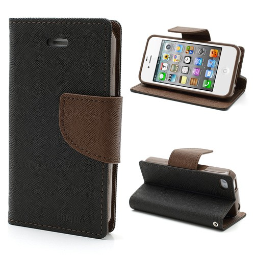 Goospery iPhone 4/4S Modisches Leder Case - braun/schwarz