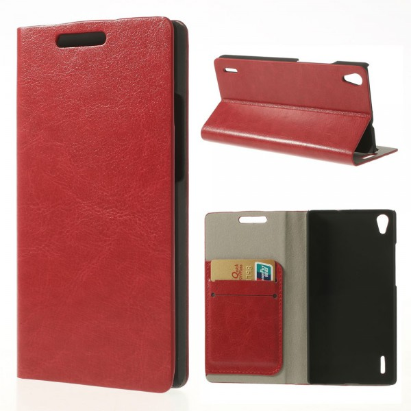 Huawei Ascend P7 Crazy Horse Leder Case mit Standfunktion - rot