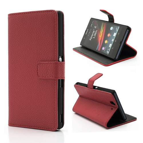 Sony Xperia Z Leder Case mit Standfunktion und Litchimuster - rot