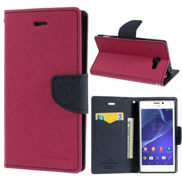 Goospery Sony Xperia M2/M2 Dual Modisches Leder Case mit Standfunktion - dunkelblau/rosa