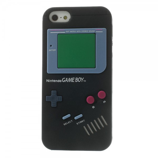 iPhone SE/5S/5 Silikon Case im Nintendo GameBoy Look - schwarz