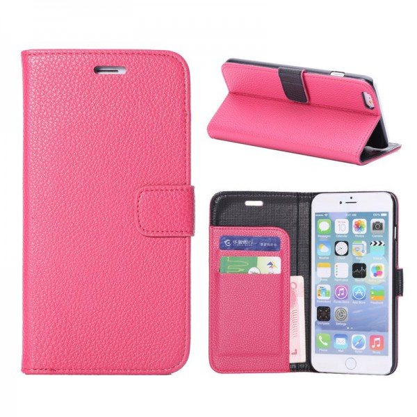 iPhone 6 Plus/6S Plus Leder Case mit Litchimuster - rosa