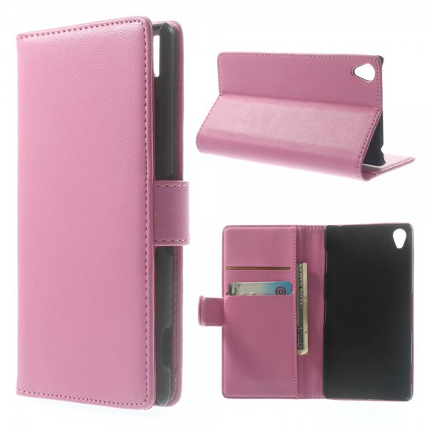 Sony Xperia Z3 Magnetisches Leder Case mit Standfunktion - pink