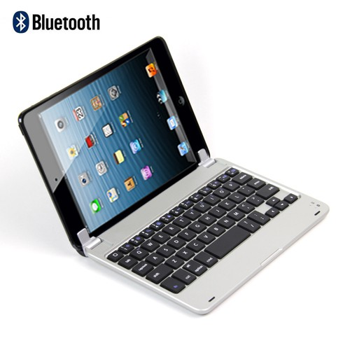 iPad Mini 1/2/3 Ultradünne Wireless Bluetooth Aluminium Tastatur - silber