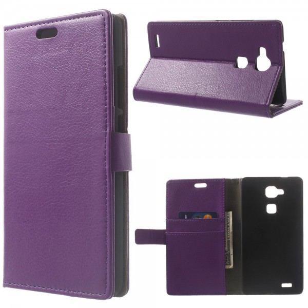 Huawei Ascend Mate7 Leder Case mit Litchimuster - purpur